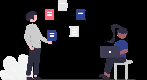 illustration of people holding data icons