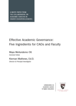 Effective Academic Governance: Five Ingredients for CAOs and Faculty