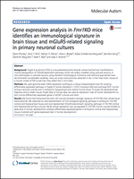 Gene expression analysis in Fmr1KO mice identifies an immunological signature in brain tissue and mGluR5-related signaling in primary neuronal cultures
