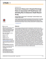 Sentiment Measured in Hospital Discharge Notes Is Associated with Readmission and Mortality Risk: An Electronic Health Record Study