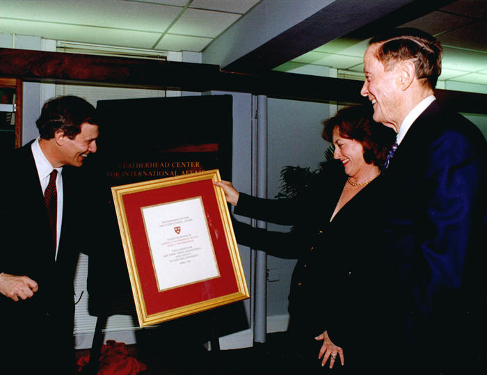 Image of Al and Celia Weatherhead and Neil Rudenstine at WCFIA dedication in 1998