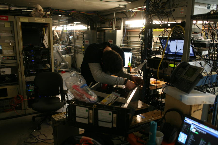 Daniel repairing one of the South Pole Telescope's EHT Mark 6 data recorders.
