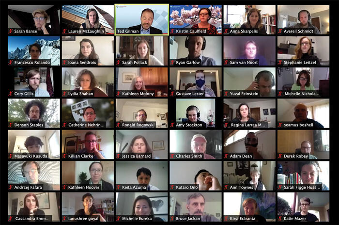 Zoom screenshot of 42 affiliates at the WCFIA Orientation