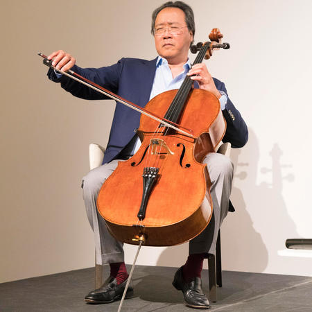Yo-Yo Ma giving a demonstration