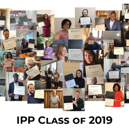 "collage of IPP students with their diplomas and a black caption stating ""IPP Class of 2019"""