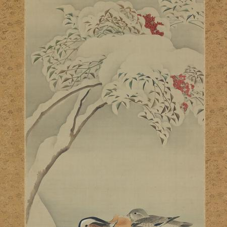 Mandarin Ducks in Snowy Landscape