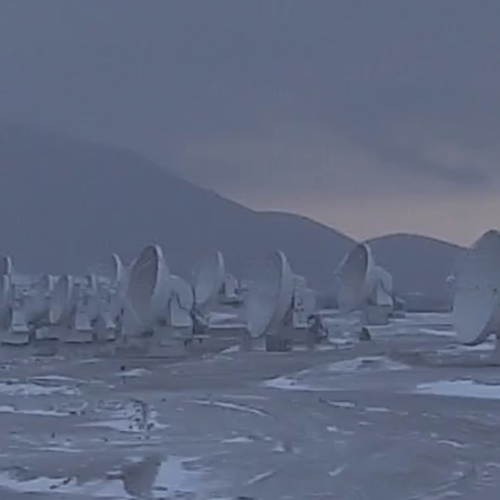 Panorama of the ALMA dishes in clouds