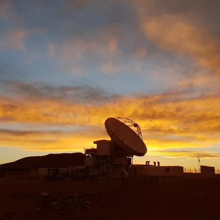 The APEX telescope at sunset during the EHT 2018 observing campaign