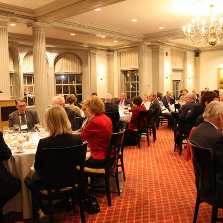 Image of Kathy Molony giving speech at Fellows Reunion dinner