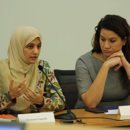 Image of Farzana Yaqoob speaking during panel