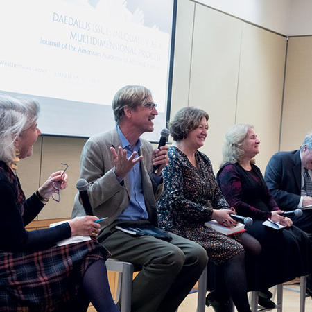 Image of panel speaking at launch of Daedalus journal special issue
