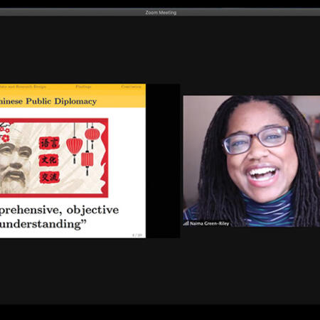 Zoom screenshot of Naima Green-Riley presenting her work on Chinese diplomacy at the Weatherhead Forum