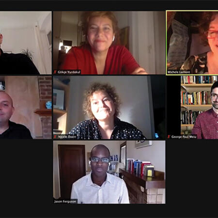 Zoom screenshot of all the panelists at the Weatherhead Forum on LGBTQ issues in the time of COVID-19
