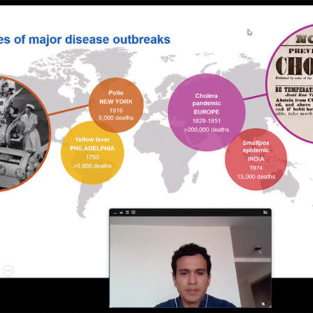 Zoom screenshot of Mario Jimenez presenting his work on disease outbreaks across the world at the Weatherhead Forum