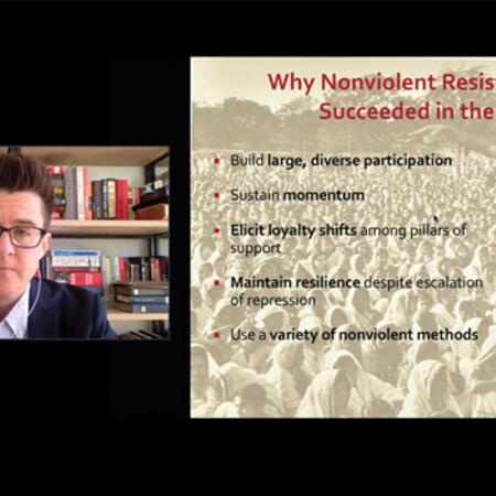 Zoom screenshot of Erica Chenoweth presenting their Orientation panel talk on nonviolent resistance