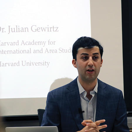 Image of Julian Gewirtz speaking at the Weatherhead Forum