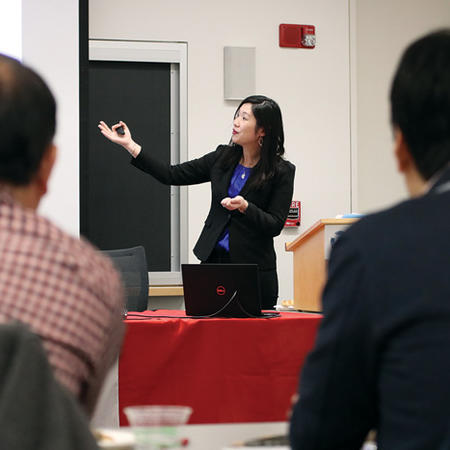 Image of US-Japan Program Academic Associate Seo Hyun Park presenting at the Weatherhead Forum