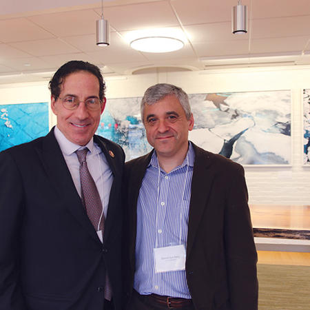 Image of Steven Levitsky and Congressman Jamie Raskin at the Constitutional Hardball conference