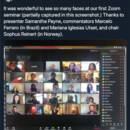 Screenshot of a Twitter post of Global History Seminar participants on Zoom