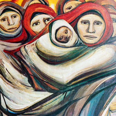 Mural depicting a group of women, one holding a child