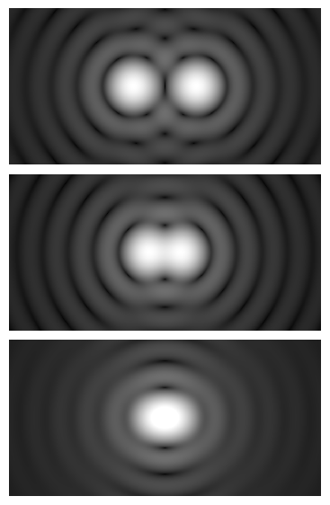 Graphic showing three images from highest to lowest angular resolution