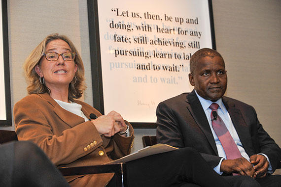 Dangote and Caroline Elkins Photo