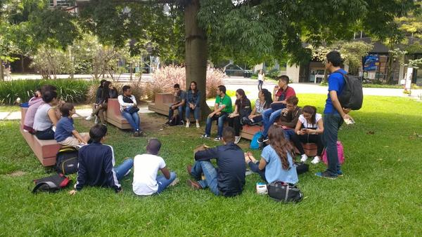 During our active breaks, we sat outside to chat about science and ask the students about their dreams and aspirations.