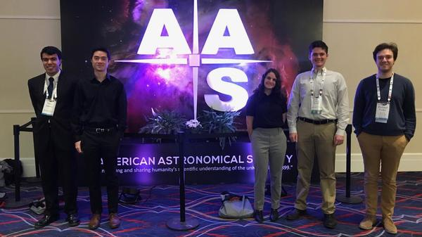Group of five Harvard students at AAS meeting