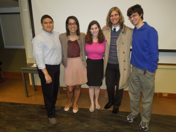 Seniors in the Department who gave  their thesis presentations on April 7, 2014: (l-r) Caleb Canas, Diana Powell, Natania Wolanski, Adrian Arteaga, and Brian Claus.