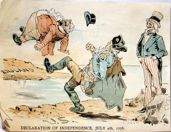 1890s Caricature of America Kicking Out the British