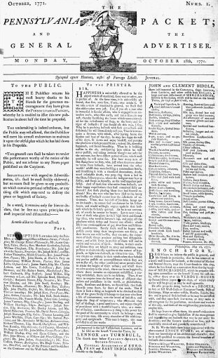 First Issue of The Pennsylvania Packet, October 28, 1771