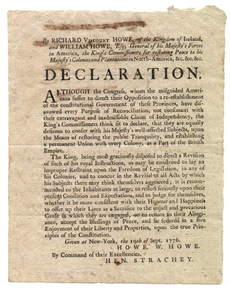 Declaration of the Kings Commissioners, September 19 1776