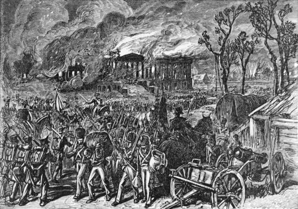 1876 Engraving, Capture and Burning of Washington by the British, in 1814