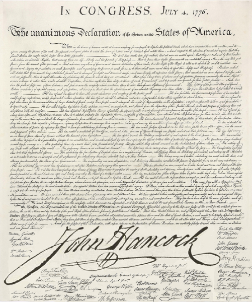 Declaration of Independence with Hancock's Signature as Large as Possible, Ben Blatt
