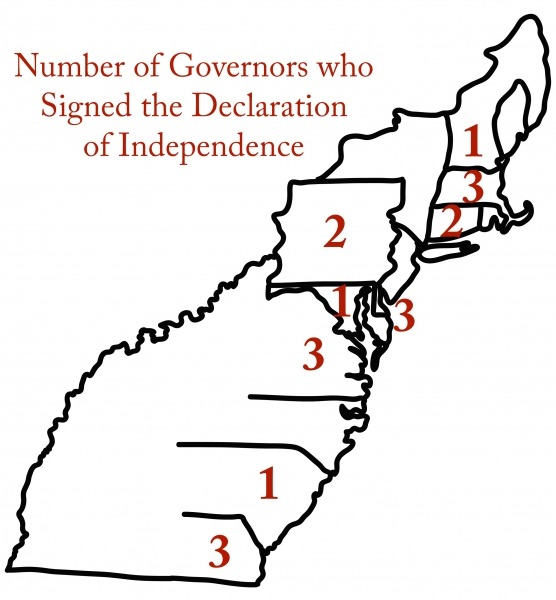 Map with Number of Governors who Signed Declaration