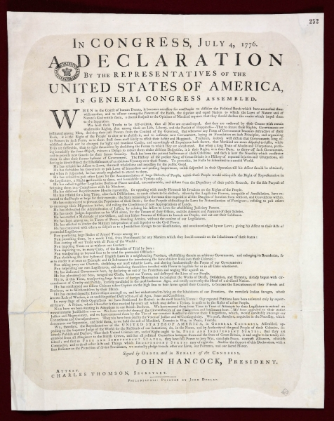 Dunlap Broadside at UK National Archives
