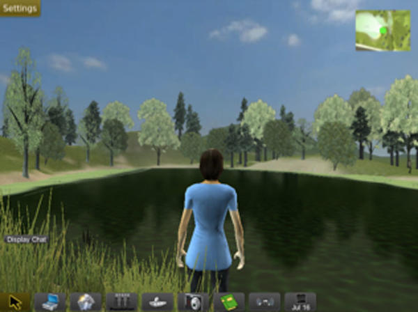 ecoMOBILE virtual world screenshot: person standing in front of pond.