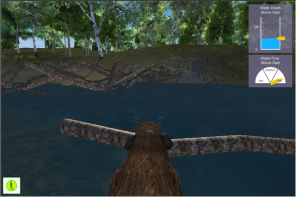 Virtual world screenshot of pond and water analysis tool.