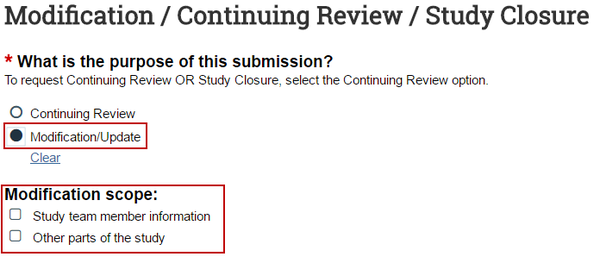 Image highlighting where to indicate a modification submission type