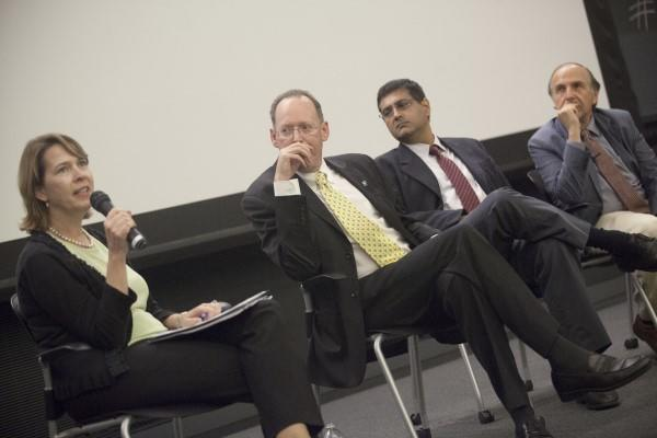 Photo of Anne Becker, Paul Farmer, Salmaan Keshavjee, and Arthur Kleinman