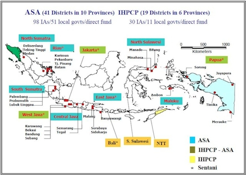 Map of Indonesia Showing HIV Program Implementers, 2005