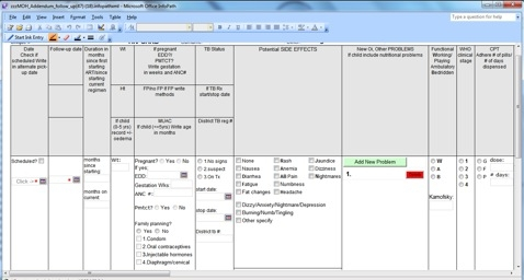 Screenshot of an Electronic Form in OpenMRS, ISS Clinic