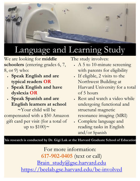 Language and Literacy Study Flyer