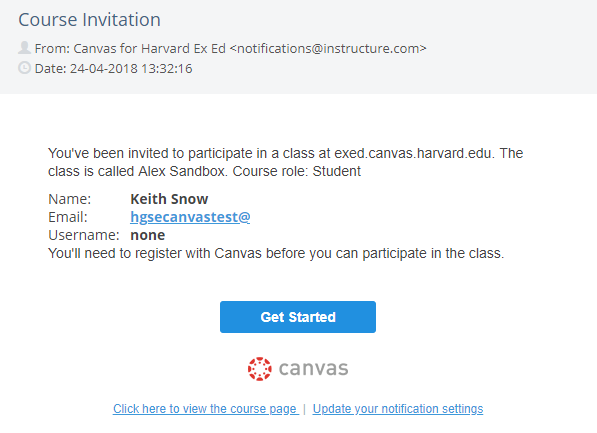 Course Registration Email
