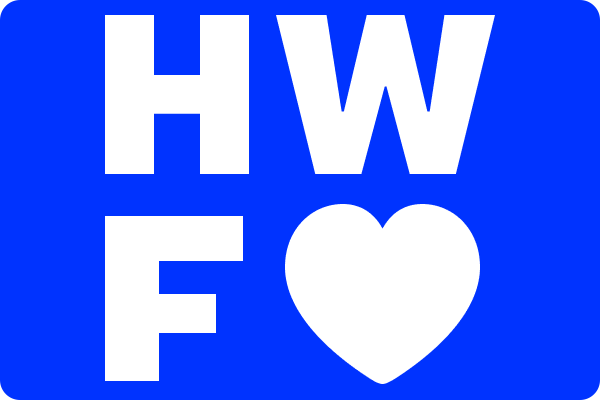 "White letters on a blue field, reading ""H W F"" with a heart"
