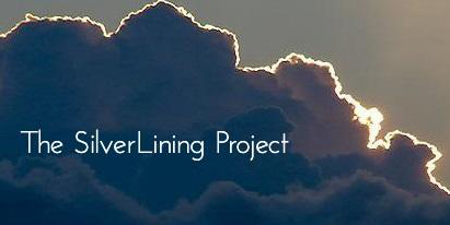 "Clouds outlined by sunlight with text ""The SilverLining Project"""