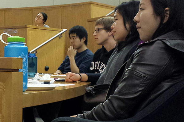student listening at event