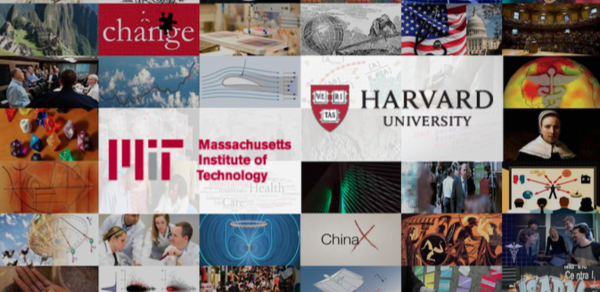 Harvard and MIT logos on top of collage of images from online courses