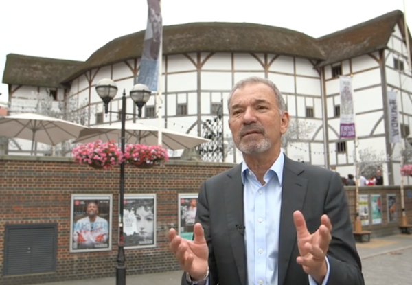 Stephen Greenblatt in front of Globe Theater
