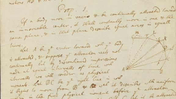 Isaac Newton. Papers connected with the Principia (MS Add.3965, detail of leaf 1r)  Cambridge University Library, CC BY-NC 3.0